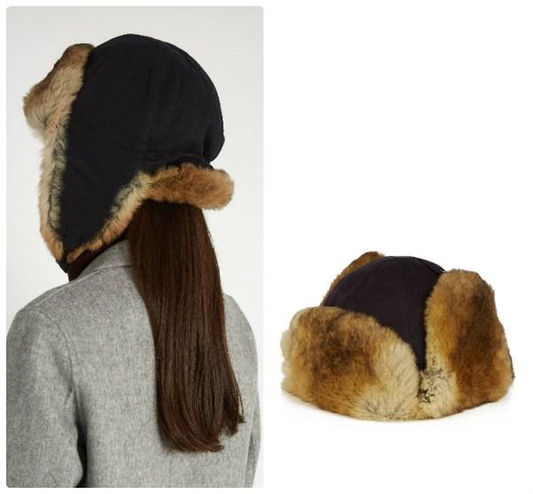 Женская шапка-ушанка, материалы - кролик, хлопок