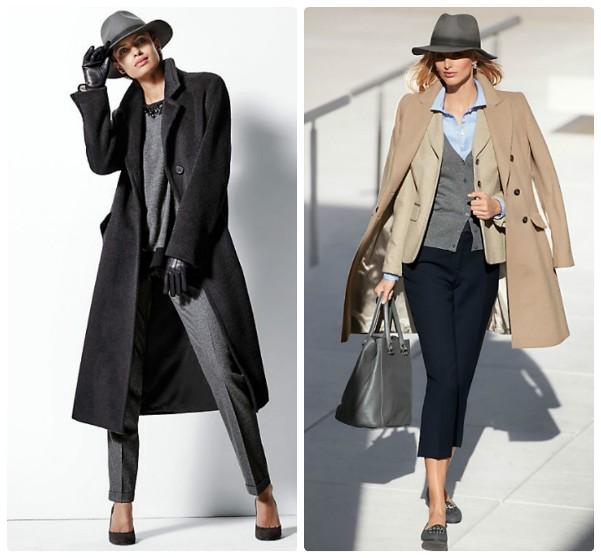 Девушка в черном пальто и серой шляпе с полями. Девушка в бежевом пальто и серой шляпе