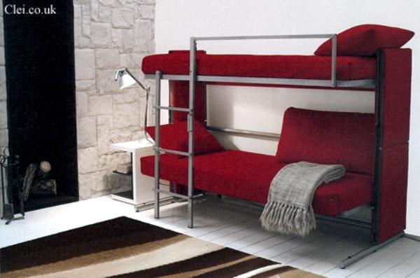 Двухъярусная диван-кровать бордового цвета