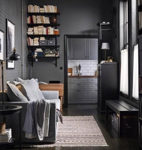 Книжные полки в комнате, где мало места для книжного шкафа