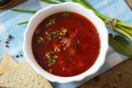 Борщ с грибами и томатным соком