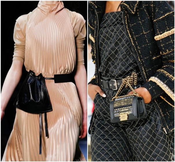 Черные поясные сумочки Céline, Chanel