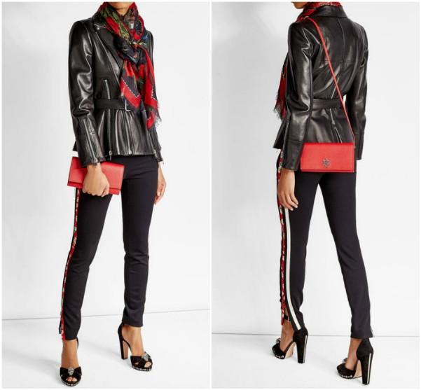 Как носить платок и шарф с кожаной черной курткой