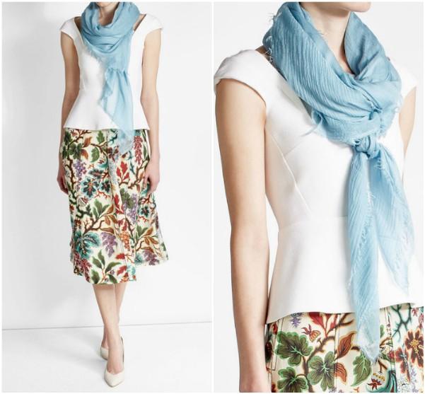 Как носить шарф с топом, блузкой