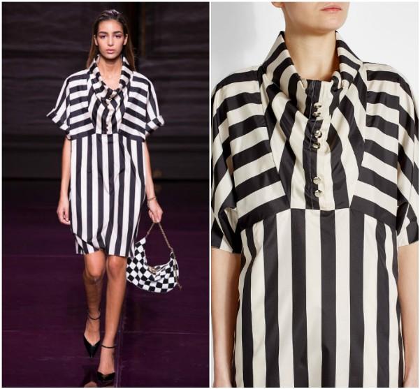 Шелковое платье в черно-белую полоску Nina Ricci