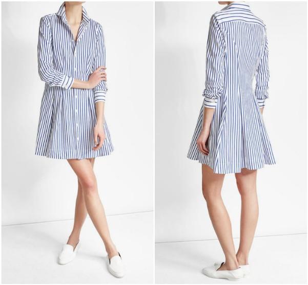 Платье в голубую вертикальную полоску до колен Polo Ralph Lauren