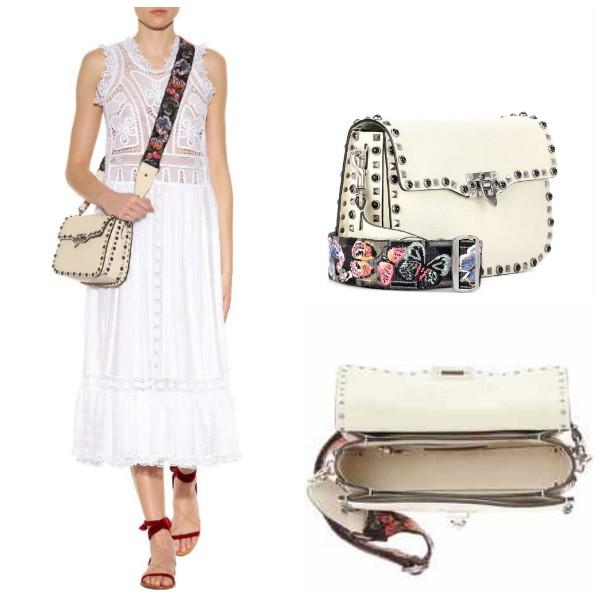Белая сумка через Valentino