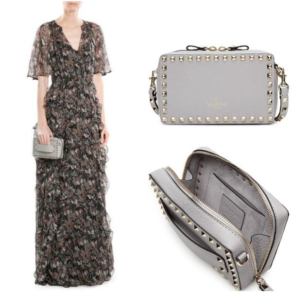 Маленькая светло-серая сумочка Valentino с металлическими заклепками
