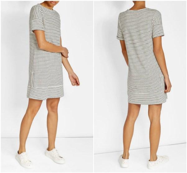 Платье до колен в горизонтальную черную тонкую полоску A.P.C.