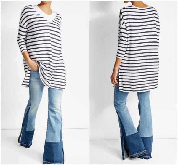 Длинная футболка в горизонтальную полоску American Vintage