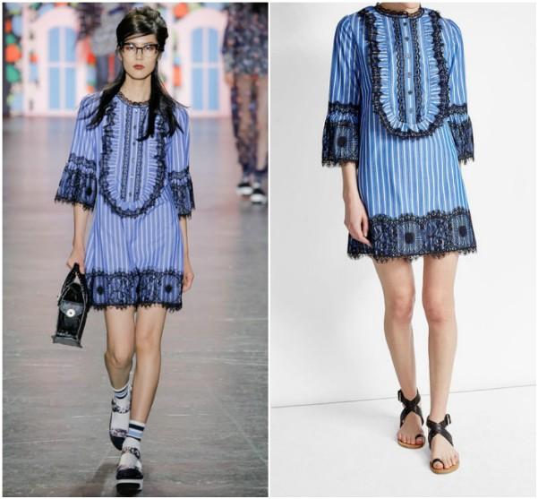 Платье в голубую вертикальную полоску с черными кружевами Anna Sui