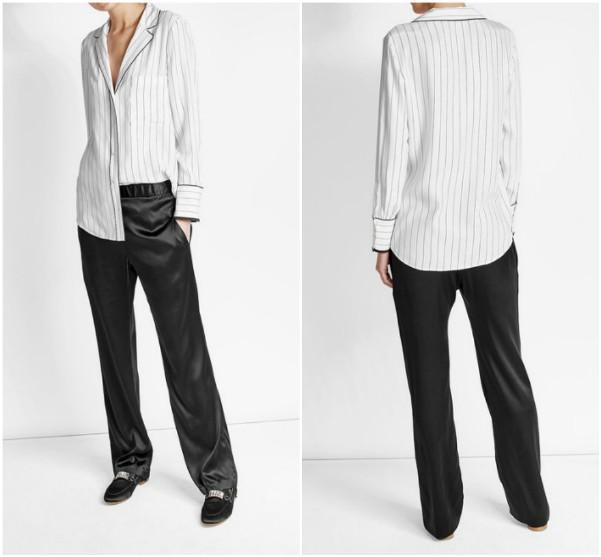 Белая рубашка пижамного стиля в полоску Frame Denim