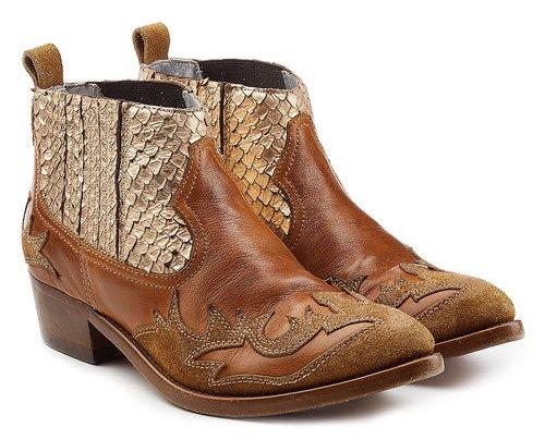 GoldenGoose, коричневые короткие сапоги в ковбойском стиле