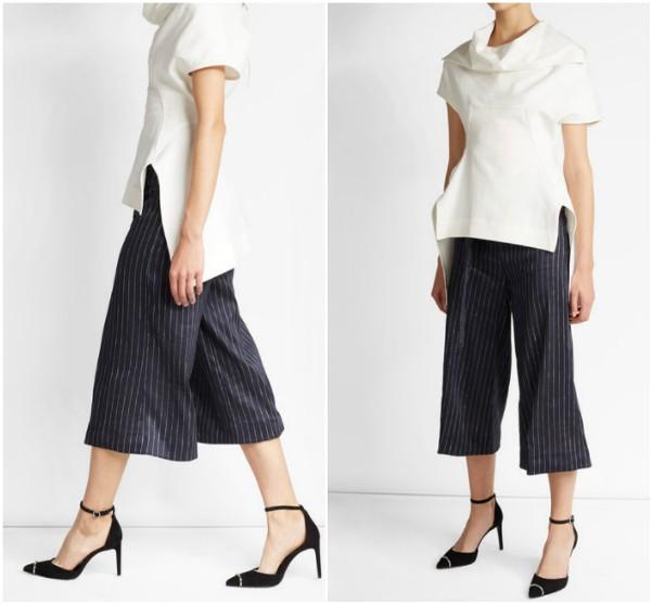 Черные брюки-юбка в тонкую белую полоску Victoria Beckham