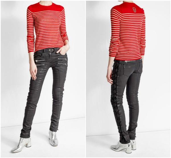Красный пуловер в белую полоску Zadig & Voltaire