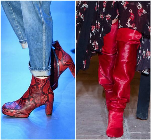 Красные сапоги Gucci и Isabel Marant