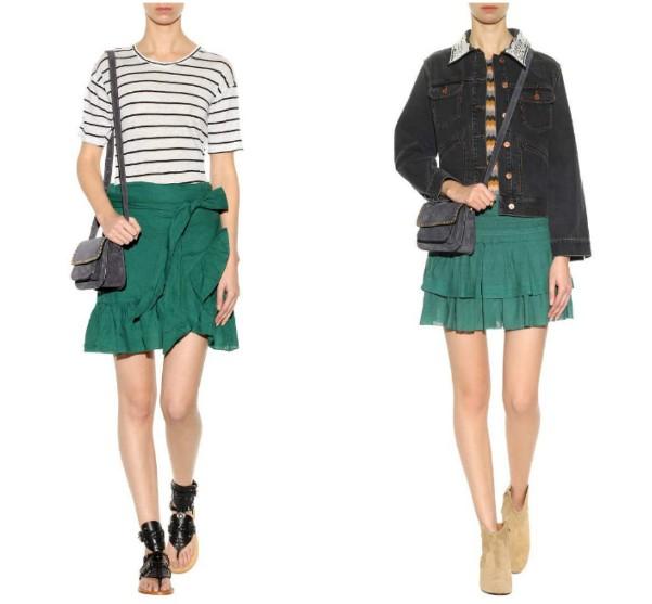 Две короткие юбки с воланами и оборками зеленого цвета Isabel Marant