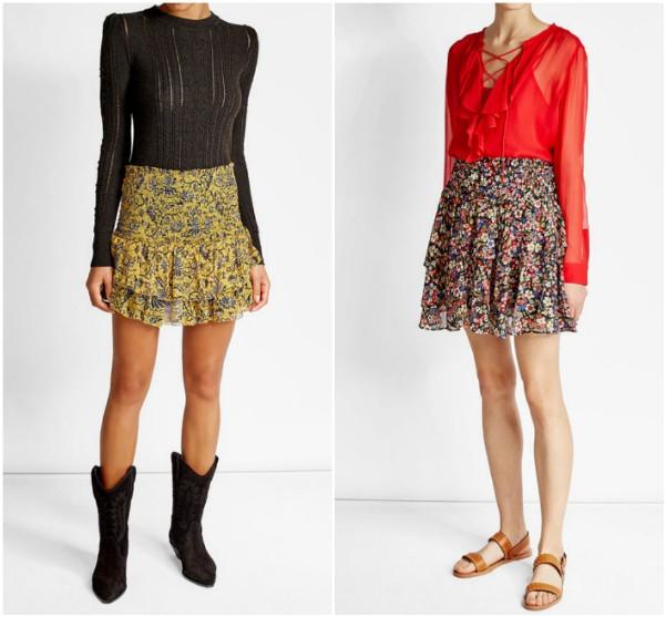 Пестрые юбки выше колен с оборками Isabel-Marant_The-Kooples