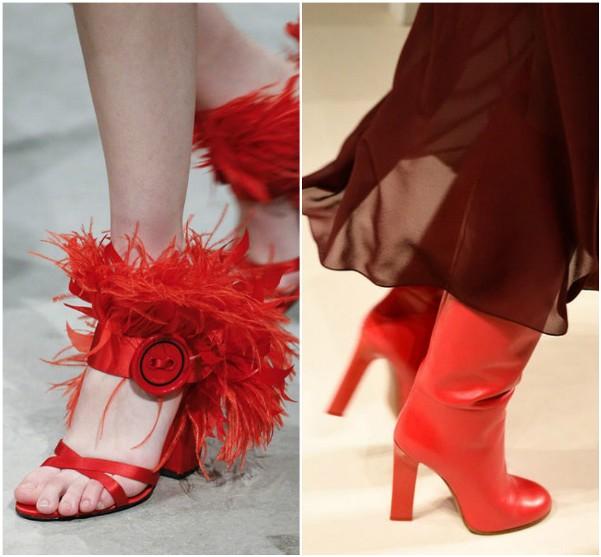 Prada красные босоножки, Victoria Beckham красные сапоги