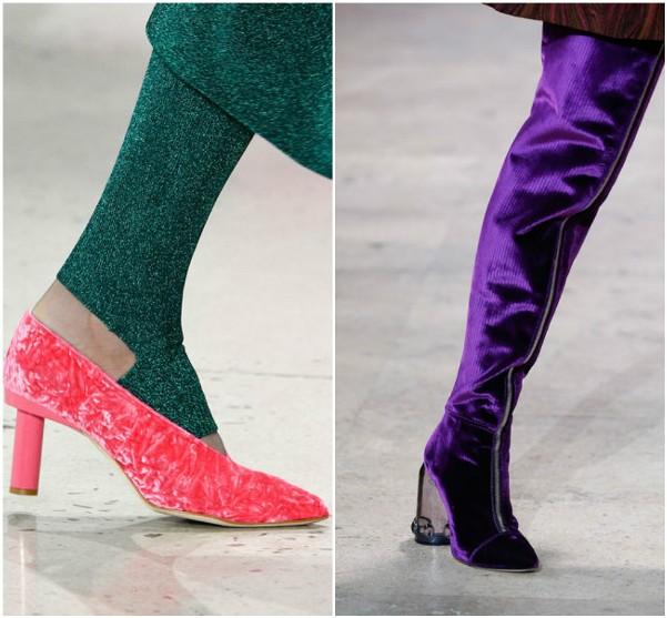 бархатные розовые туфли Tibi, фиолетовые ботфорты Elleri