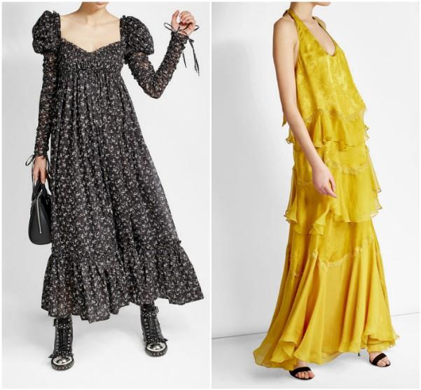 Черное платье в мелкий цветок Alexander McQueen, желтое Roberto Cavalli