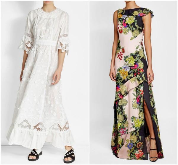 Белое длинное платье с оборками Anna Sui, цветное платье Etro