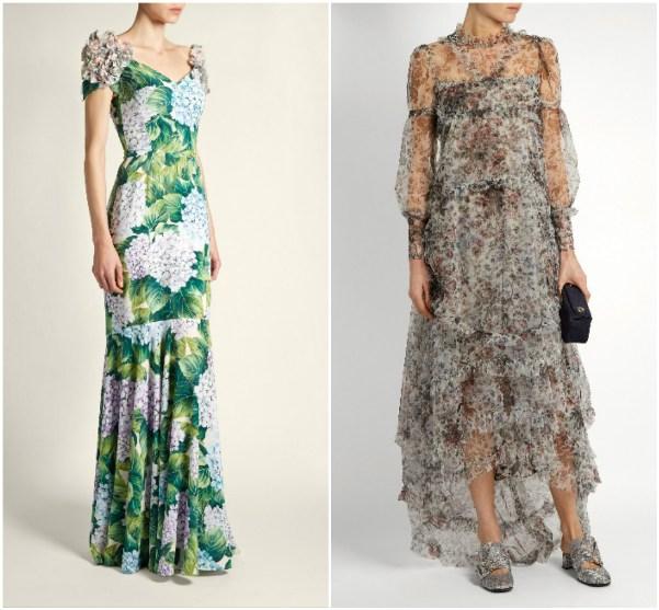 Длинное платье в гортензиях от Dolce & Gabbana, длинное платье Erdem