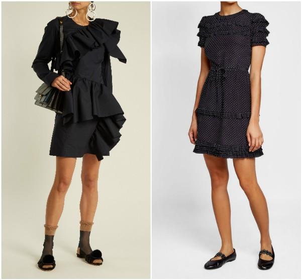Черные короткие платья с воланами и оборками Marni, RED Valentino