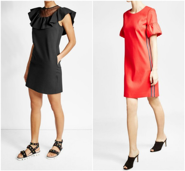 Черное короткое прямое платье с оборкой RED Valentino, красное Hugo
