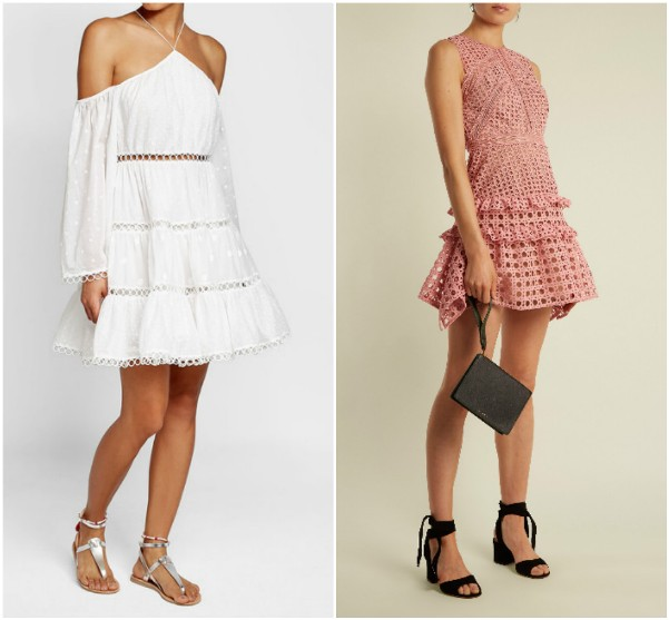 Белое короткое платье с оборками и розовое - Zimmermann, Self-Portrait