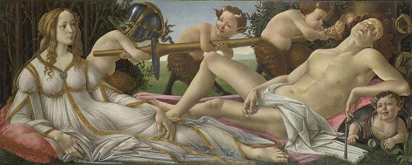 Венера и Марс. Картина Сандро Боттичелли, 1483