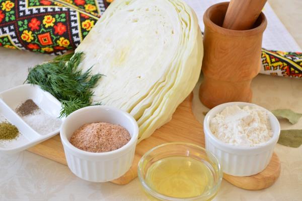 Ингредиенты для капустных котлет с отрубями
