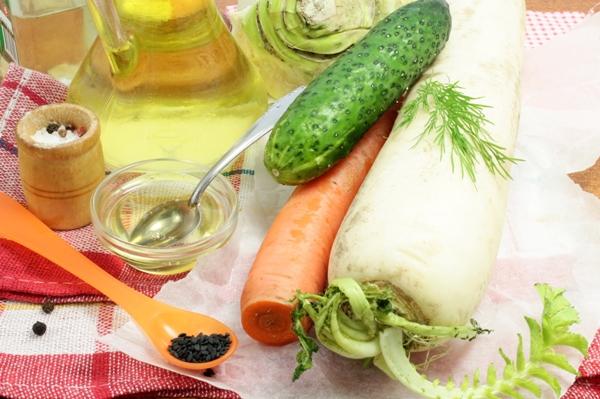 Ингредиенты для овощного карпаччо