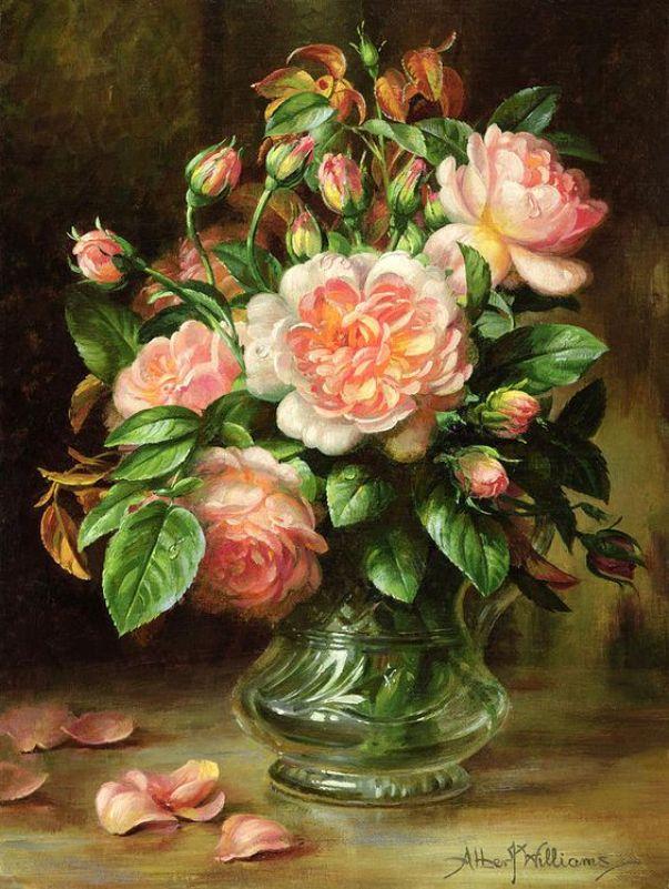 Английские элегантные розы в стекле. Альберт Уильямс(1922–2010), британский художник