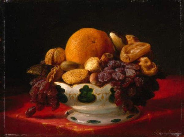 Апельсины, орехи и инжир, 1860-е. Лилли Мартин Спенсер (урожденная Анжелика Мари Мартин; 1822-1902), американская художница