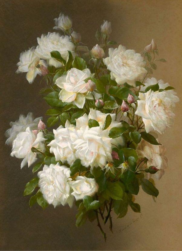 Белые розы. Поль де Лонгпре (Paul de Longpre, 1855-1911), французский художник