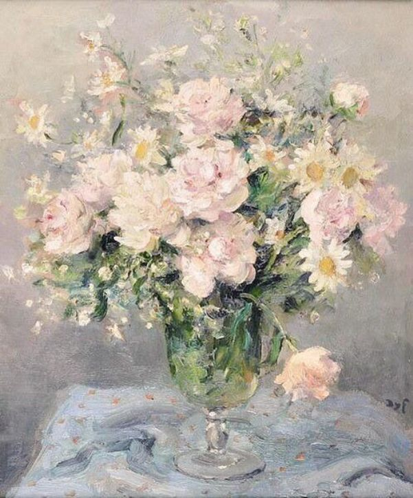 Букет из роз и ромашек, ок. 1970. Марсель Диф (фр. Marcel Dyf, 1899-1985), французский импрессионист, известен своими портретами и букетами цветов.