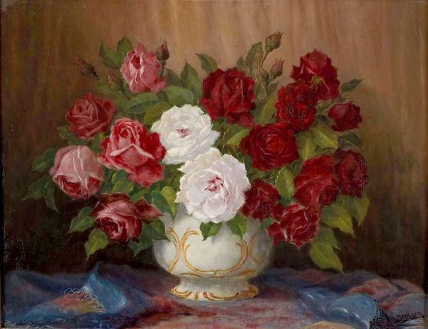 Букет роз в вазе. Август Цайдлер (1892-1963), австрийский художник