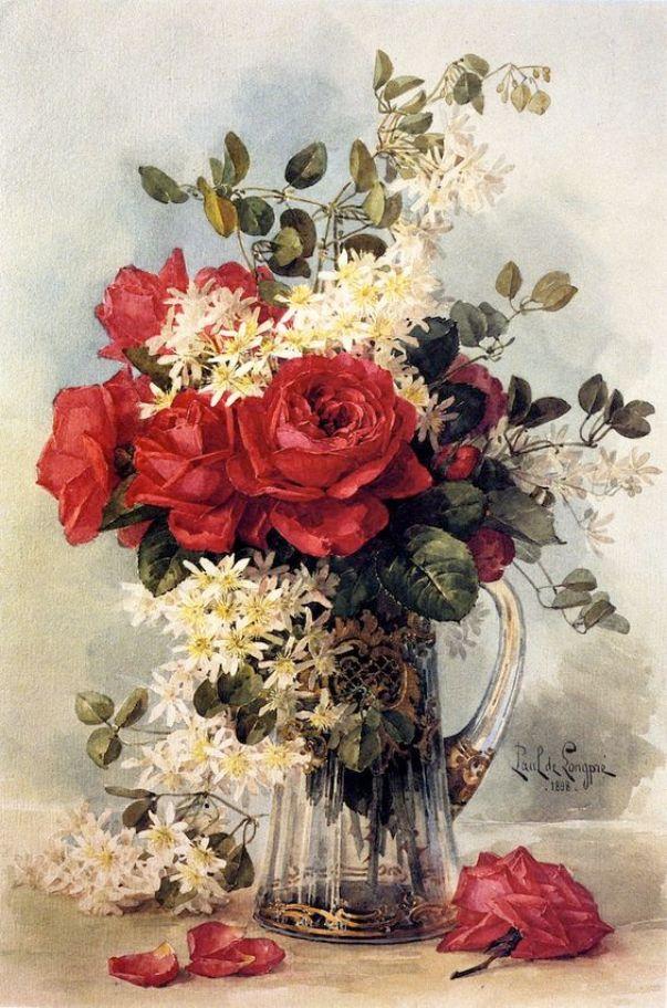 Букет с розами. Поль де Лонгпре (1855-1911), французский художник
