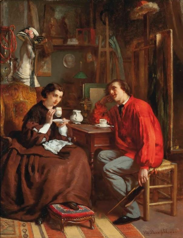 Чаепитие в мастерской художника. Виктор де Борншлегель (1820-?), французский художник