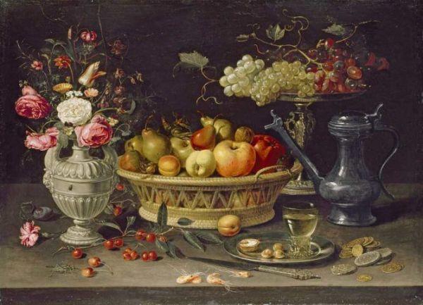 Натюрморт с фруктами и цветами, ок. 1612/13, масло на меди. Клара Петерс (1594-1657), нидерландская художница. Оксфорд, музей Эшмола, Великобритания.