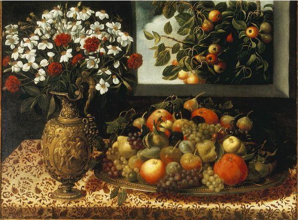 Цветы и фрукты возле окна с грушевым деревом, ок. 1640. Томас Йепес (1600-1674), испанский живописец эпохи барокко
