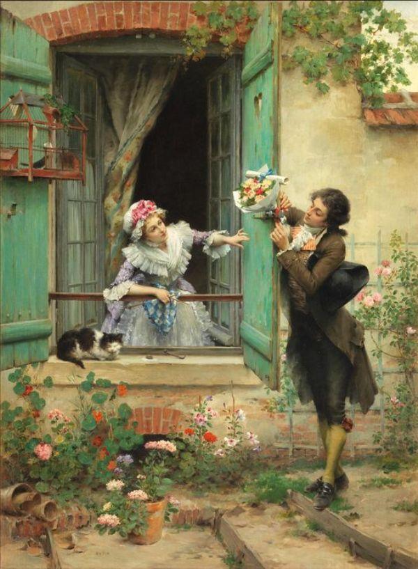 Флирт. Холст, масло. Пьер Утин (1840-1899), французский художник. Частная коллекция