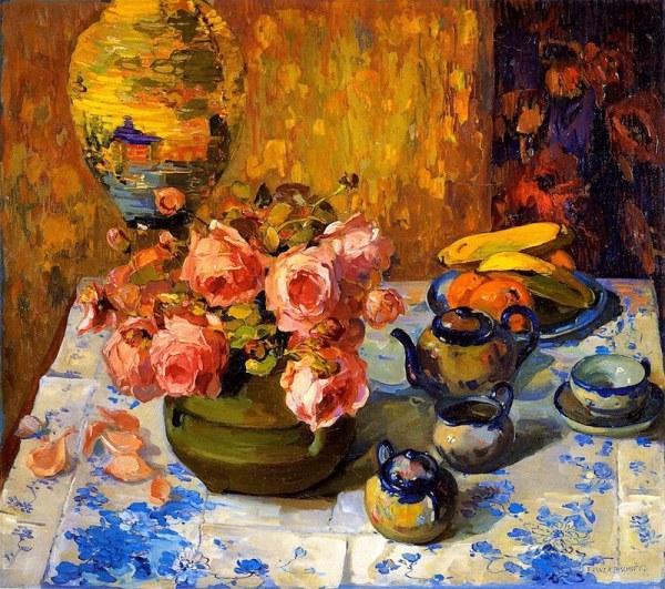 Розы на чайном столе. Франц Альберт Бишофф (1864-1929) американский художник, известным прежде всего своей китайской живописью , цветочными картинами и калифорнийскими пейзажами.