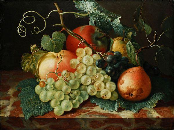 Фруктовый натюрморт с яблоками, грушами и виноградом на мраморной тарелке. Винк Йоханн Амандус (1748-1817), немецкий живописец