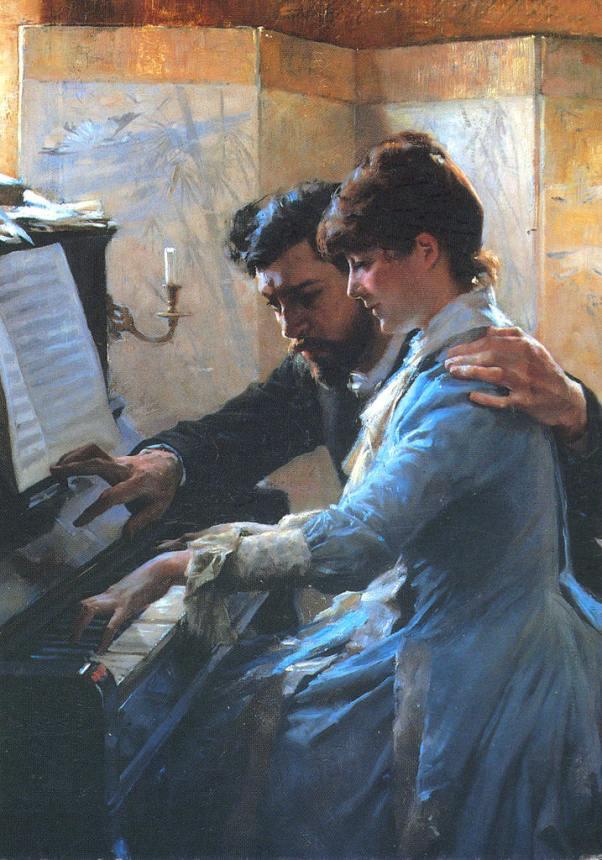 Игра на фортепиано. Альберт Эдельфельт (1854-1905) финский художник