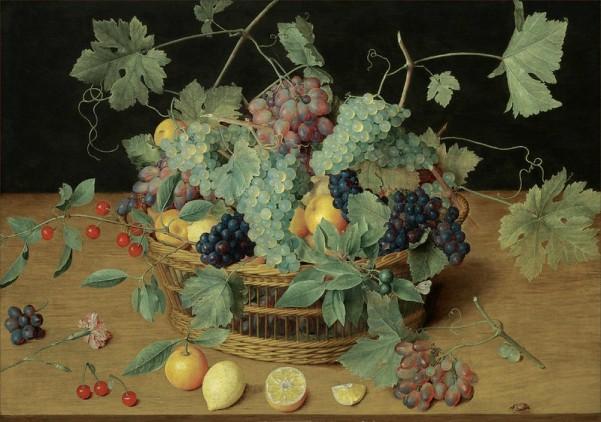 Натюрморт с фруктами в корзине, включая гроздья винограда и лимонов, вишен и апельсинов на деревянном столе. Исаак Соро (1604-1644), немецкий живописец эпохи барокко.