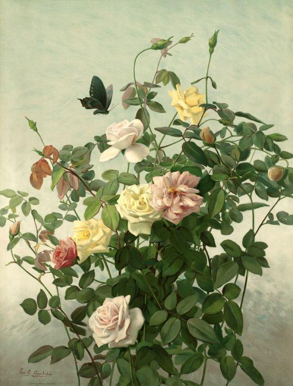 Июньское утро. Джордж Кокран Ламбдин (1830-1896), американский художник викторианской эпохи, наиболее известным своими картинами с цветами.