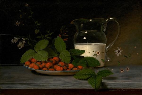 Клубника со сливками, 1816. Масло на дереве. Рафаэль Пил (1774-1825), американский художник