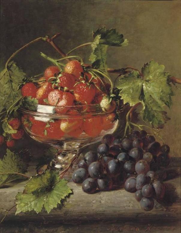 Клубника в вазе с гроздью винограда. Адриана Йоханна Хаанен (1814-1895), голландская художница
